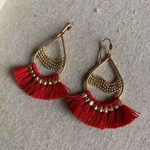 Stella & Dot Red And Gold Fringe Earrings
